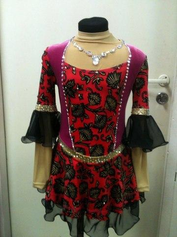 Платье со стразами, рост 134 см (цветы)