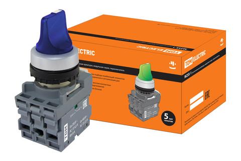 Переключатель на 3 положения с фиксацией M3SS1-21L короткая ручка(LED) d22мм/220B 1з+1р синий TDM