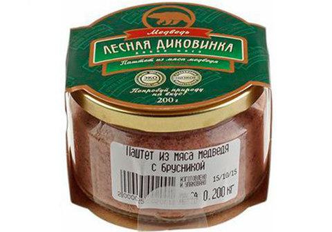 Паштет из мяса медведя с брусникой, 200г