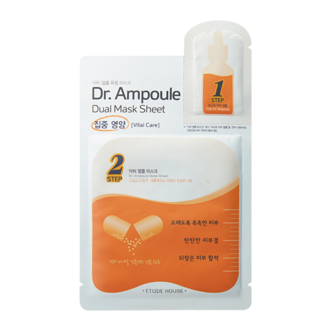 ETUDE HOUSE Восстанавливающая двухфазная маска для лица Dr. Ampoule Dual Mask Sheet Vital Care (2+24мл)
