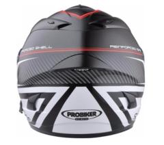 Мотошлем - PROBIKER PR2 (черно-бело-красный)