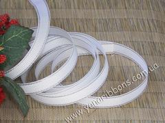 Лента репсовая Белая с люрексовой серебряной каймой 9 мм
