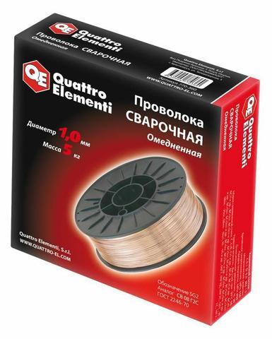 Проволока сварочная QUATTRO ELEMENTI  омедненная, 1,0 мм, масса 5,0 кг