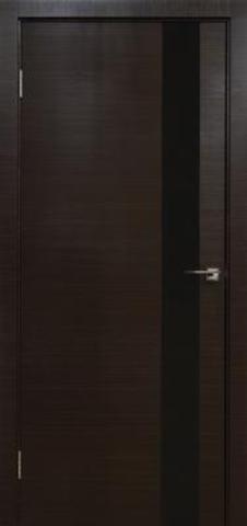 Дверь Визаж Квант, стекло чёрное, цвет венге мокко, остекленная