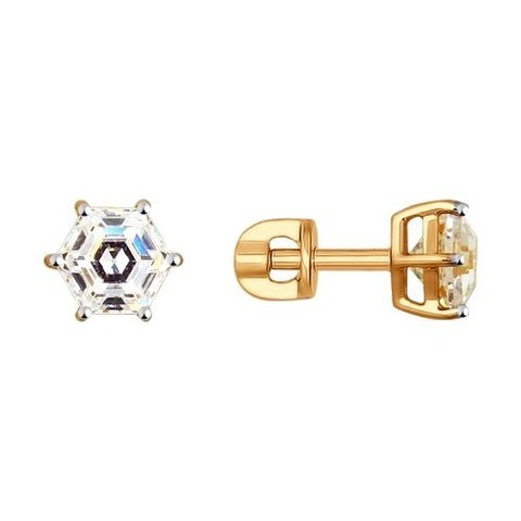 Классические пусеты из золота с фианитами Swarovski арт. 81020317