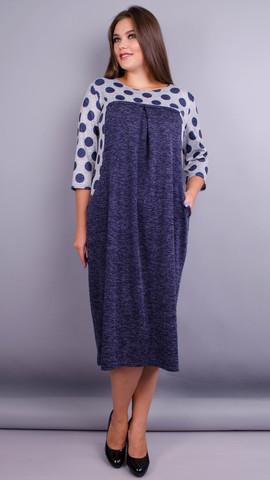 Роксолана. Оригинальное платье больших размеров. Горохи.