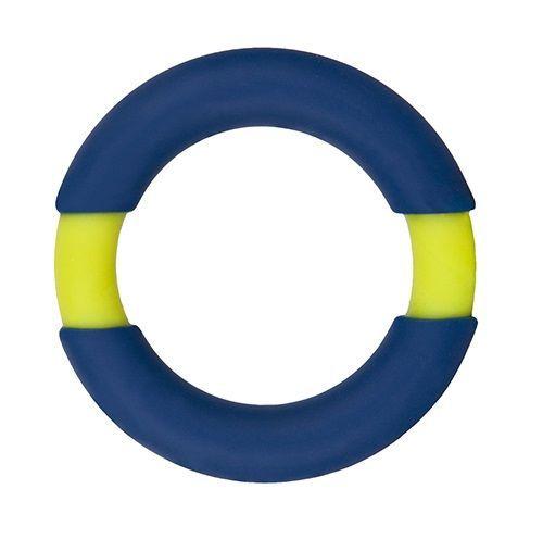 Эрекционные кольца: Синее эрекционное кольцо NEON STIMU RING 42MM BLUE/YELLOW