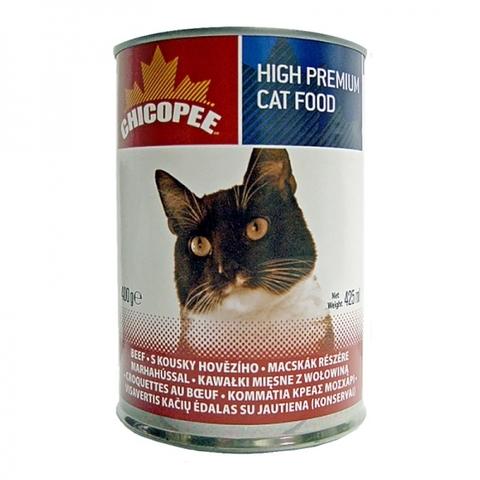 Chicopee Cat Chunks Beef консервы для кошек всех возрастов с кусочками говядины в соусе - 400 г х 24 шт 0,4 кг