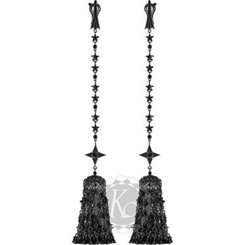 Серьги-кисточки длинные из серебра с черным родием, в стиле Ko Jewelry 4640