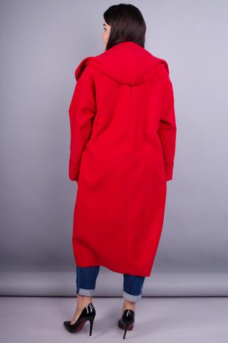 Сарена. Женское пальто-кардиган больших размеров. Красный.