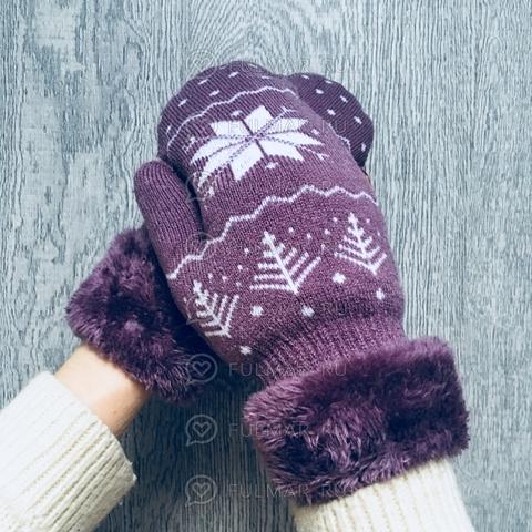 Варежки шерстяные вязаные со снежинками (цвет: фиолетовый)