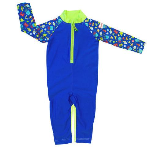 Детский плавательный костюм, print blue sea life, 98-104 см./ 2-4 г.