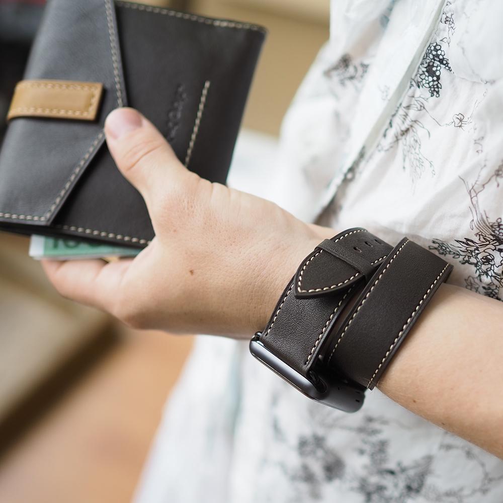 Ремешок для Apple Watch 42мм ST Double Strap из натуральной кожи теленка, темно-коричневого цвета