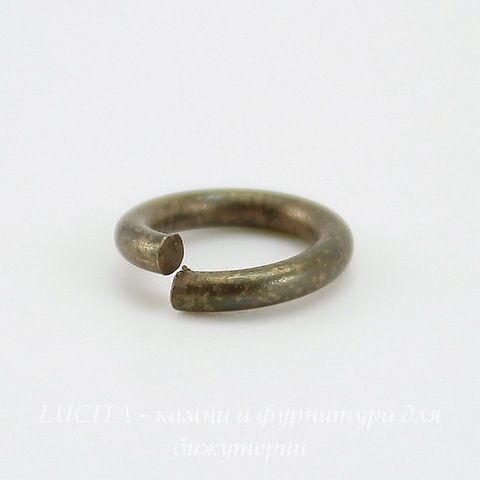 Винтажное колечко одинарное 8х1,5 мм (оксид латуни) ()