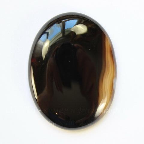 Кабошон овальный Агат Черный, 40х30 мм