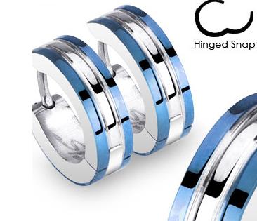 SSE-017 Мужские серьги с полосками синего цвета, сталь, «Spikes»