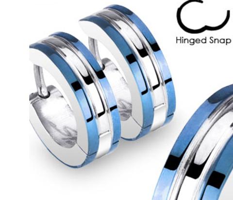 Мужские серьги с полосками синего цвета, сталь, «Spikes»