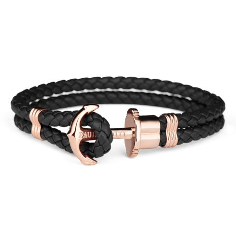 Leather Rose Gold Bracelet Black