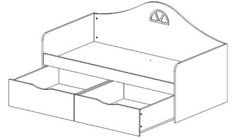 Детский диван-кровать с двумя ящиками схема