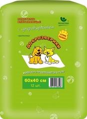 Подстилки впитывающие для животных с суперабсорбентом 60х40 см, 12 шт., Доброзверики «Сухие лапки»