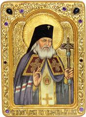 Живописная инкрустированная икона Святитель Лука Симферопольский, архиепископ Крымский 29х21см на кипарисе в подарочной коробке