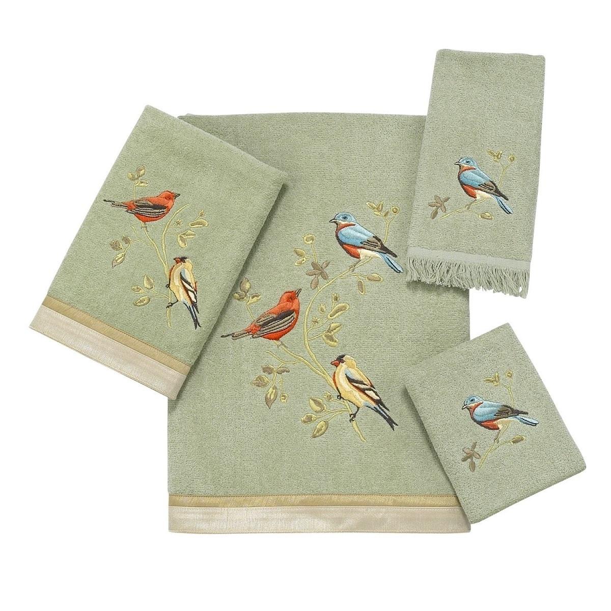Полотенце 69х127 Avanti Gilded Birds зеленое