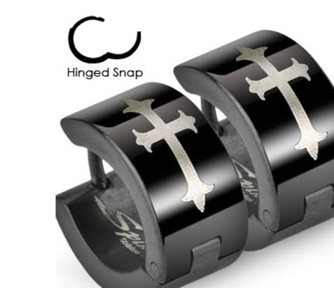 Широкие мужские серьги черного цвета с крестом, ювелирная сталь