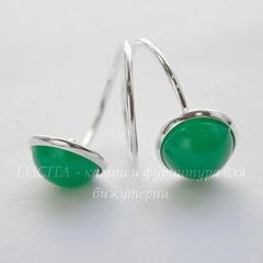 Основа для кольца с двойным сеттингом для кабошона 12 мм (цвет - серебро)