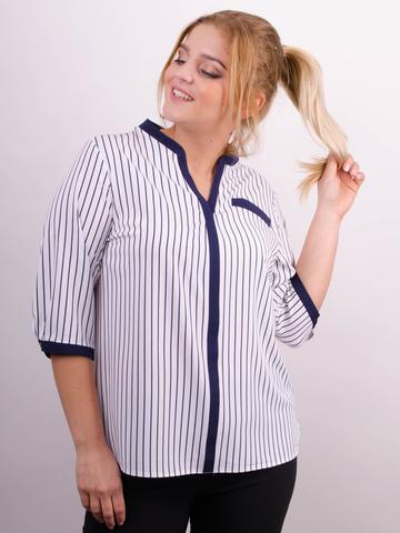 Аврора. Комбинированная блуза больших размеров. Белый+полоса.