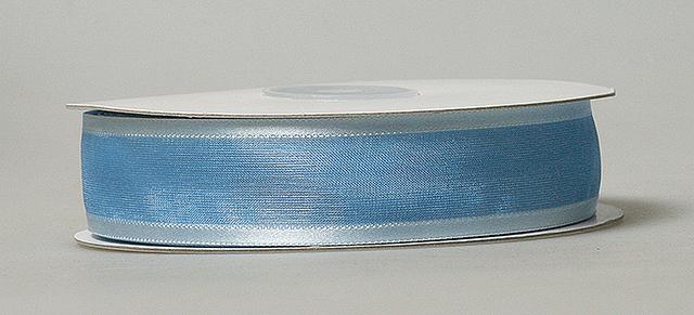 Лента органза с атласной полоской 2,5см синий