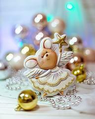Мышка ангел трафарет для пряника, мастики, печенья
