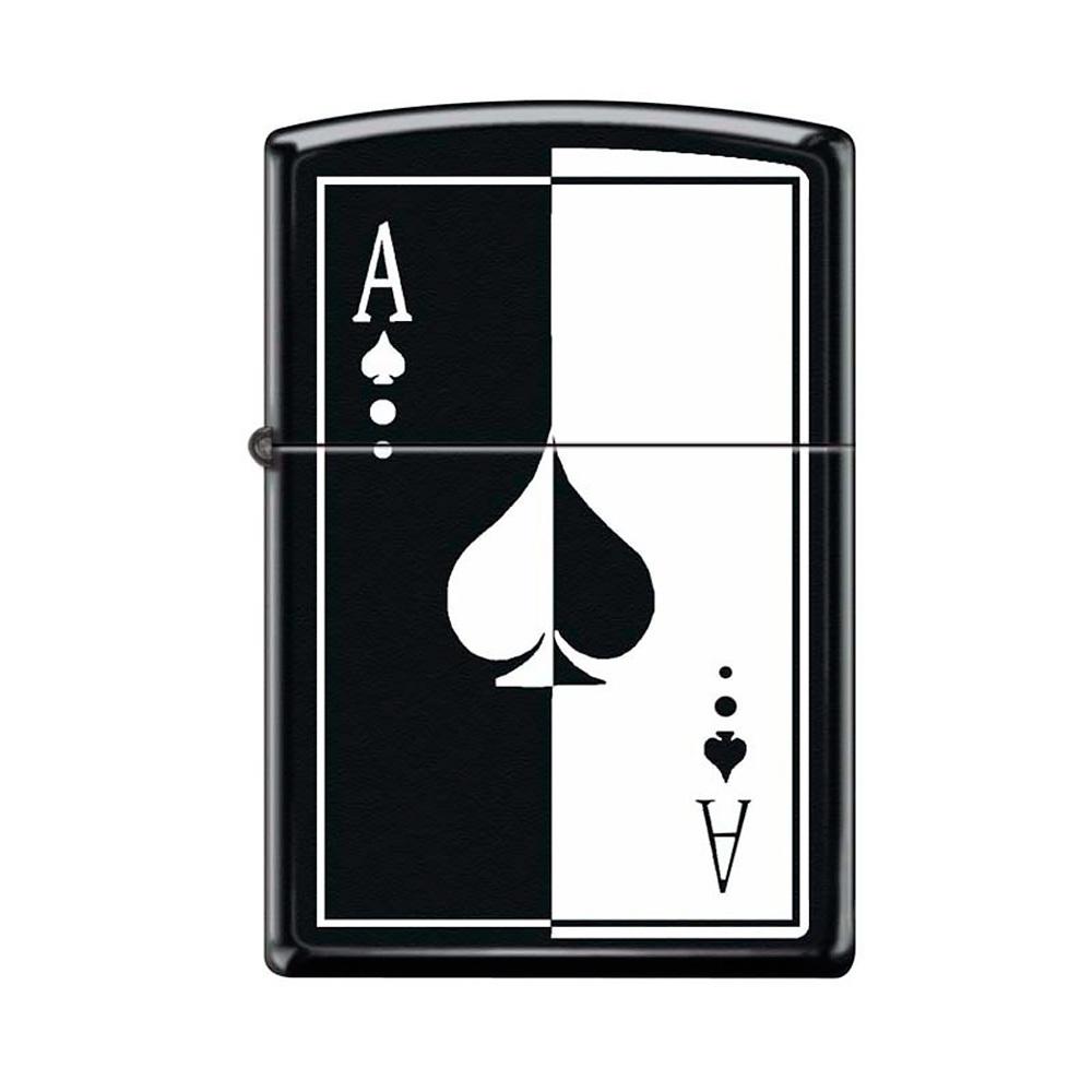 Зажигалка ZIPPO 218 Ace, латунь/сталь с покрытием Black Matte, чёрная, матовая, 36x12x56 мм