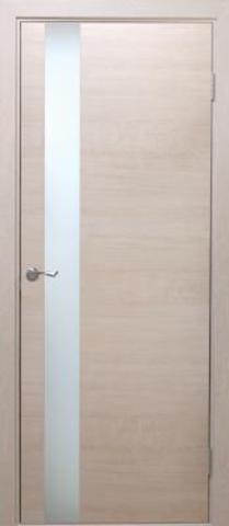 Дверь Визаж Квант, стекло белое, цвет ясень бежевый, остекленная