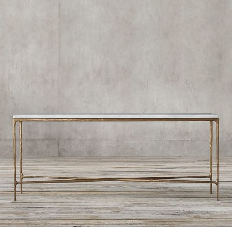 Thaddeus Forged Brass & Marble Console Table
