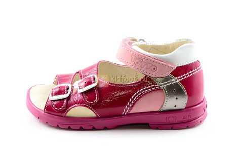 Босоножки Тотто из натуральной кожи с открытым носом для девочек, цвет малиновый розовый. Изображение 3 из 12.