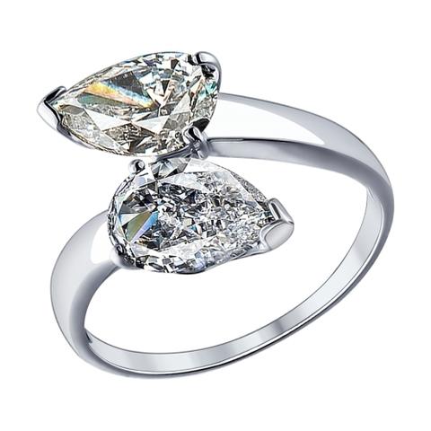 Кольцо  из серебра с фианитами капельками от SOKOLOV