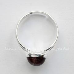 Основа для кольца с сеттингом для кабошона 8 мм (цвет - серебро)