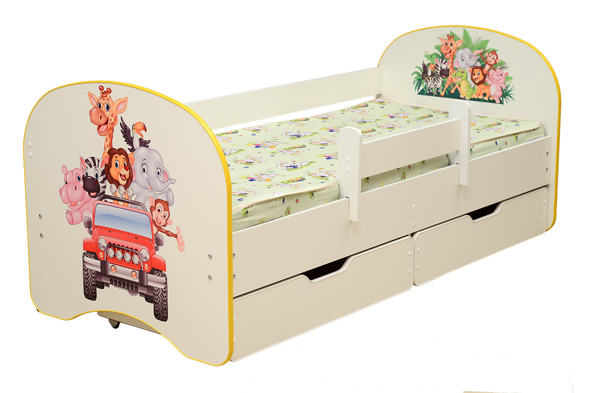 Кровать детская с фотопечатью Зоопарк