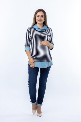 Блузка для беременных 01253 синий