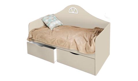 Детский диван-кровать с двумя ящиками кремовый