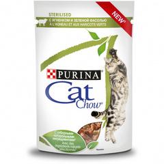 Cat Chow пауч для стерилизованных (с ягненком и зеленой фасолью) 85 гр 1 шт