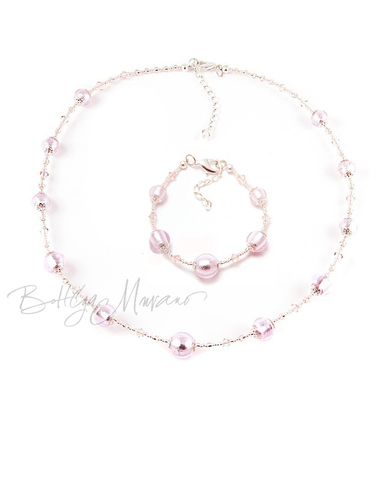 Комплект Примавера розовый (ожерелье, браслет)