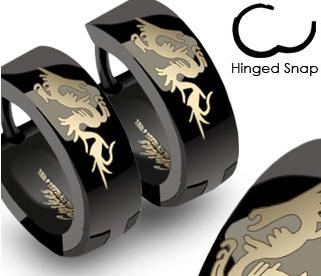 SSE-007 Стальные мужские серьги черного цвета с драконом, «Spikes»