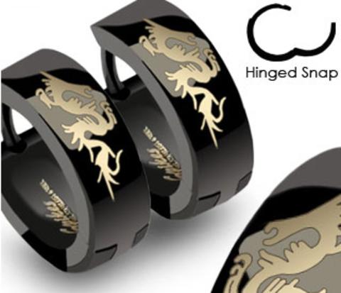 SSE-007 Стальные мужские серьги черного цвета с драконом, &#34Spikes&#34