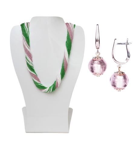 Комплект украшений розово-зеленый №1 (серьги-бусины, ожерелье из бисера 36 нитей)