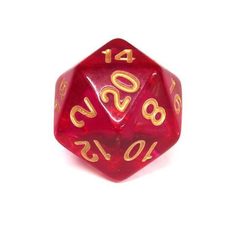 Куб D20 прозрачный: Малиновый