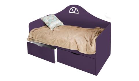 Детский диван-кровать с двумя ящиками фиолетовый