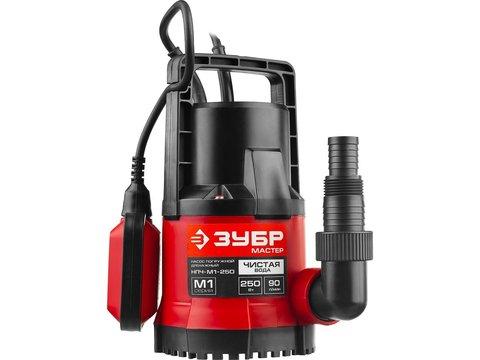 Насос М1 погружной, ЗУБР НПЧ-М1-250, дренажный для чистой воды (диаметр частиц до 5 мм), 250Вт, пропуск. способ. 90л/мин, напор 6м, провод 7м