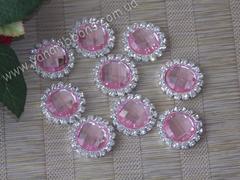 Камни круглые в стразовом обрамлении розовые