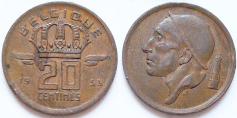 Бельгия 20 сантимов 1953